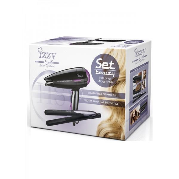 Πιστολάκι Μαλλιών Izzy Salon Hair Dryer D1116 + Straightener Izzy 152 Hair System Izzy