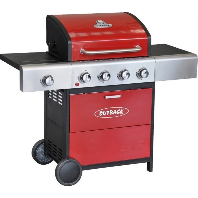 Barbeque Outback Meteor Hooded 4 Burner Gas BBQ Grill In Red